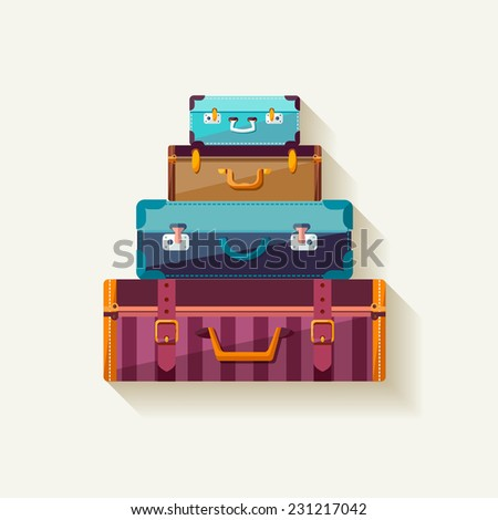 Mountain vintage suitcases.  - stock vector
