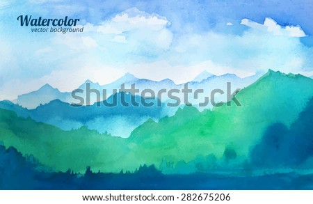 mountain watercolor vector - stock vector