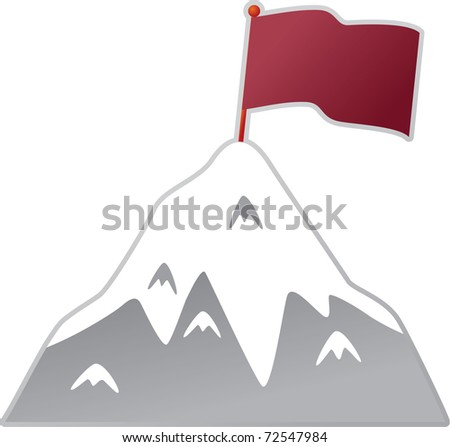 Mountain with flag - stock vector
