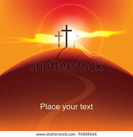 mountain with three crosses at sunset - stock vector