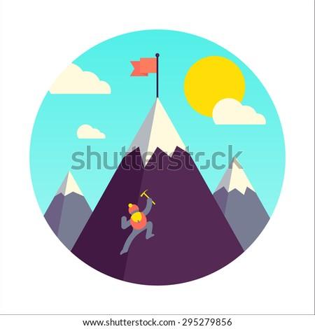 Mountaineer climb a snow mountain. Vector illustration. - stock vector