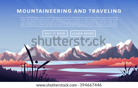 Mountaineering and Traveling Vector Illustration. Landscape with Mountain Peaks. Extreme Sports, Vacation and Outdoor Recreation Concept - stock vector