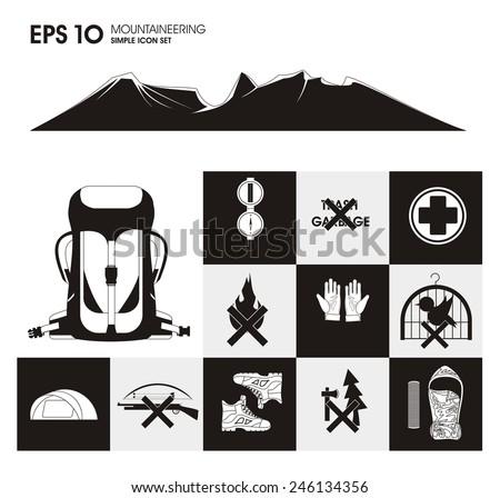 Mountaineering Icon Set - stock vector