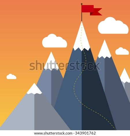 Mountaineering Route. Goal Achievement or Success Concept. Mountains with snow and red flag on the top, sky and clouds on background. Vector illustration in flat style - stock vector