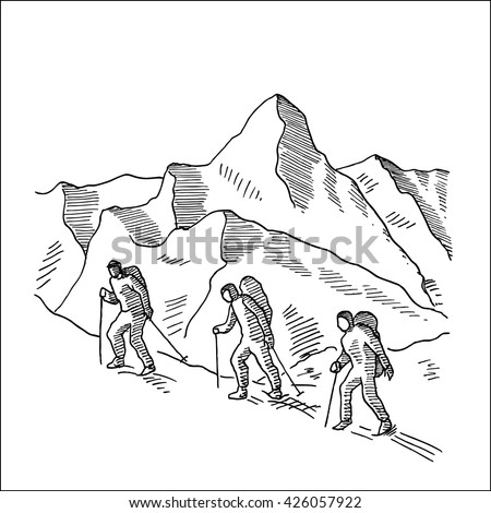 mountaineers climbs a snowy ridge hand drawn sketch vector illustration