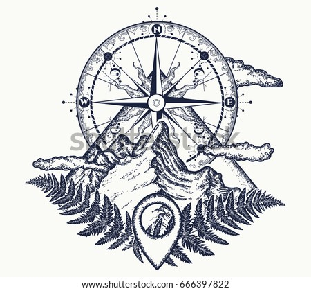 Mountains Compass Tattoo Symbol Tourism Rock Stock Vector 666397822