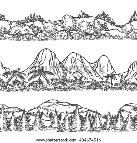 Mountains and forest hand drawn patterns. Forest and Mountains endless landscapes. Nature doodle horizontal seamless vector landscapes  - stock vector