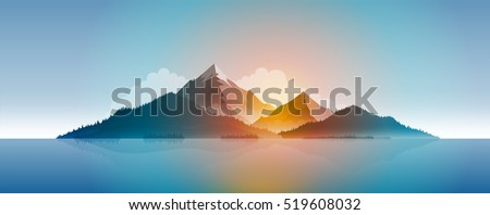 Mountains and forest. Vector island landscape illustration. Elements are layered separately in vector file.