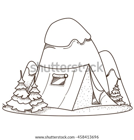 Mountains and tourist tent. Hiking, climbing, traveling. Illustration for coloring.
