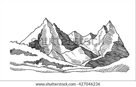mountains and valley landscape hand drawn sketch vector illustration