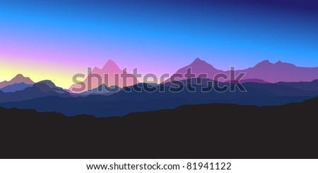 Mountains at sunset - stock vector