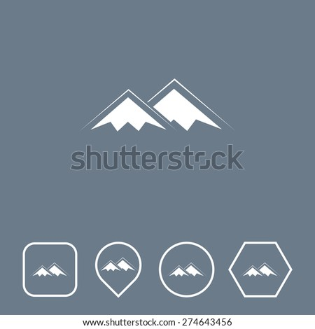 MOUNTAINS Icon on Flat UI Colors with Different Shapes. Eps-10. - stock vector