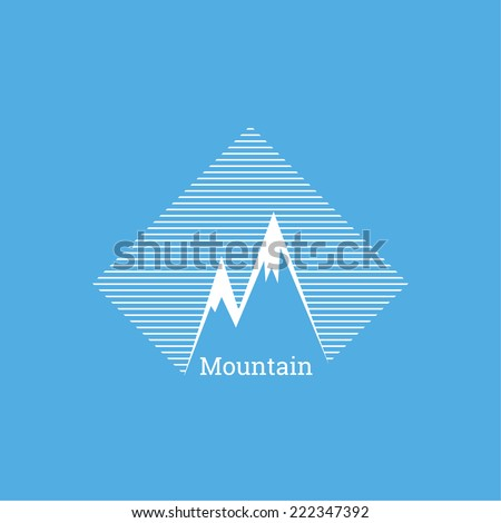 Mountains in box. Vector icon. Logo. Hiking, climbing, travel. Investigation of the Wild - stock vector