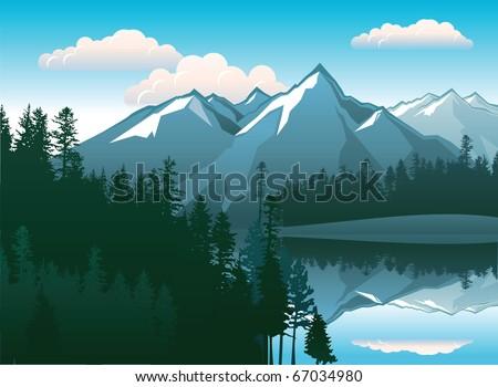 mountains landscape - stock vector