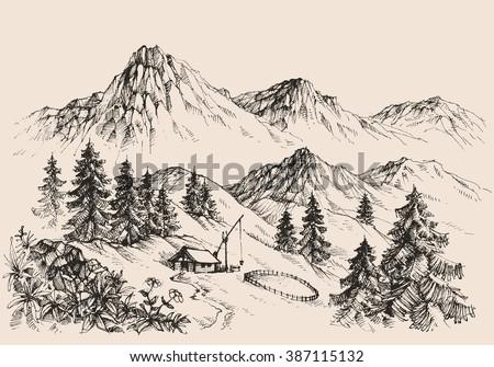 Mountains landscape and a sheepfold / farm sketch - stock vector