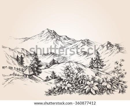 Mountains landscape sketch - stock vector