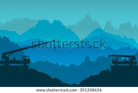 Mountains panorama - stock vector