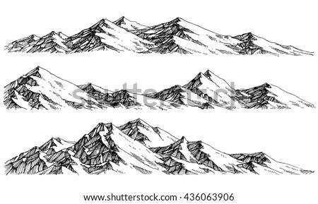 Mountains ranges. Vector panorama - stock vector