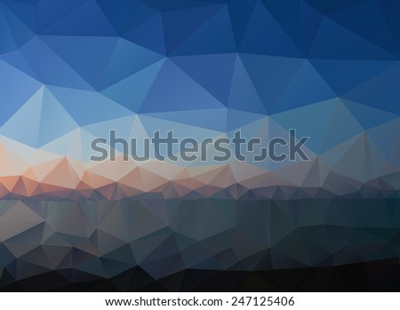 Mountains, sea, sky. Sunrise. Triangle background, vector polygon art, soft colored abstract illustration. Web mobile interface template. Travel corporate website design. Landscape. Instagram style. - stock vector