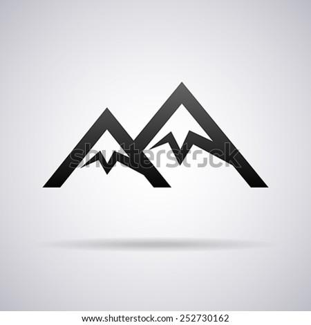 Mountains vector logo template - stock vector