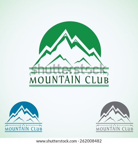 Mountains vintage vector logo design template, green tourism icon.  - stock vector