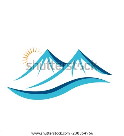 Mountains with sun vector icon - stock vector