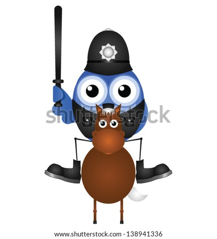 Mounted policeman sat on his horse isolated on white background - stock vector