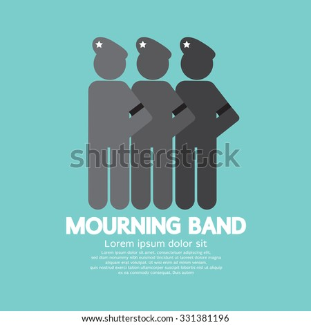 Mourning Band On Soldier's Sleeve Vector Illustration - stock vector