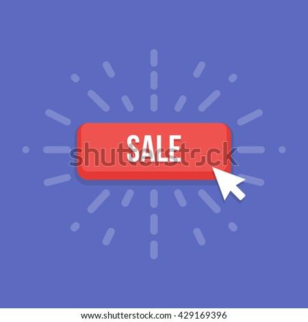 Mouse cursor clicks the sale button - stock vector