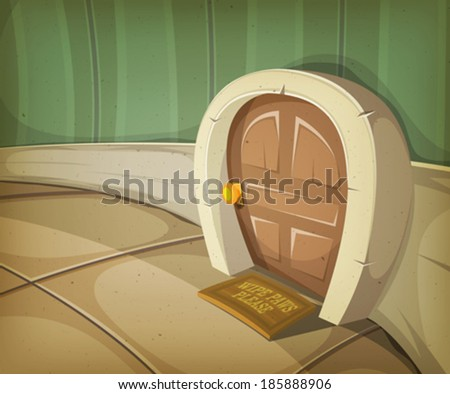 Mouse Home Inside House/ Illustration of a close view on a comic door entrance of mouse, elf or other small animal or creature character inside home interior - stock vector