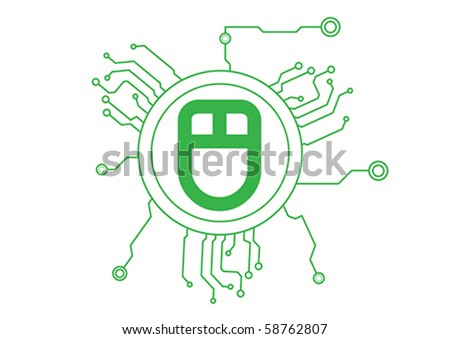 Mouse  Icon Circuit Illustration in Vector - stock vector