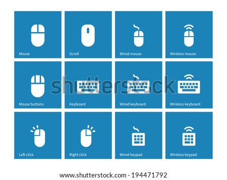 mouse keyboard vector icons set computing stock vector 311560193 mouse keyboard icons on blue background vector illustration