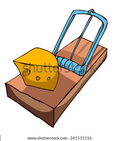 Mouse Trap With Cheese, Vector Illustration.  - stock vector