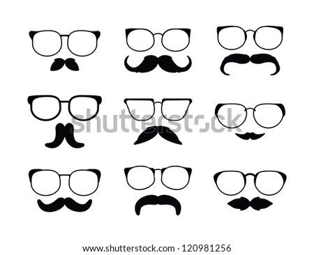 moustache eyeglass - stock vector