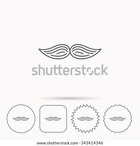 Moustache icon. Hipster symbol. Gentleman sign. Linear circle, square and star buttons with icons.