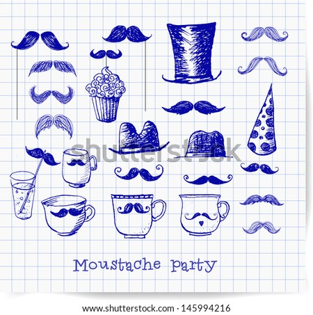Moustache party objects isolated on white. Pen sketch. Cups with moustaches, Sketchy vector illustration.  - stock vector
