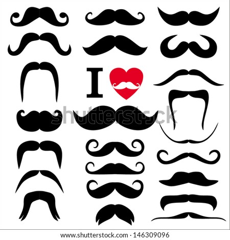 Moustaches set. Design elements. - stock vector