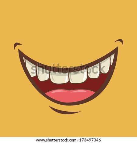 mouth design over yellow background vector illustration - stock vector