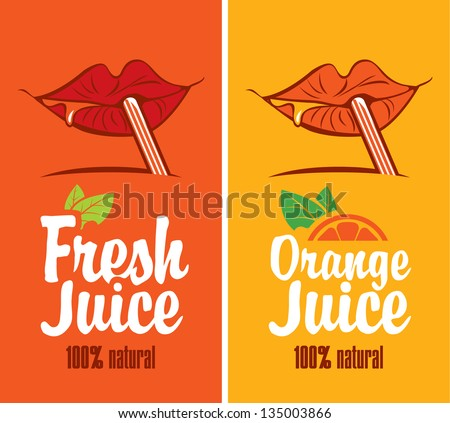 mouth is drinking orange juice through a straw - stock vector