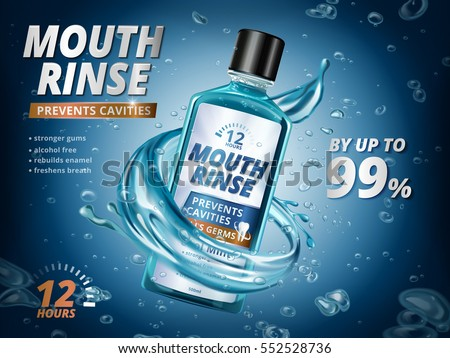 Mouth rinse ads, refreshing mouthwash product with splashing liquids and bubbles in 3d illustration, blue background