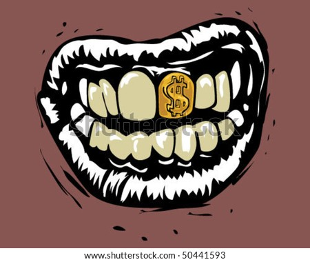 Mouth with gold teeth. - stock vector