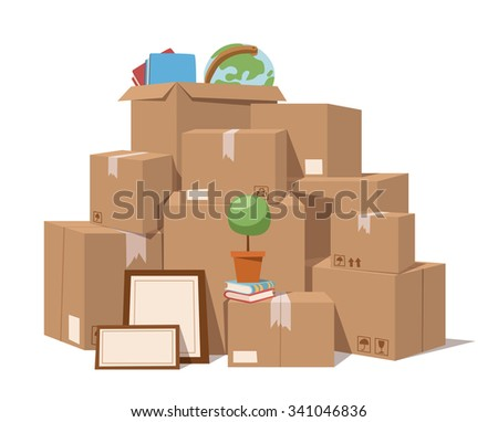 Move service box full vector illustration. Move box business. Craft box isolated on background. Box for moving, open box. Move business,moving box, relocation box. Transportation package cargo service - stock vector