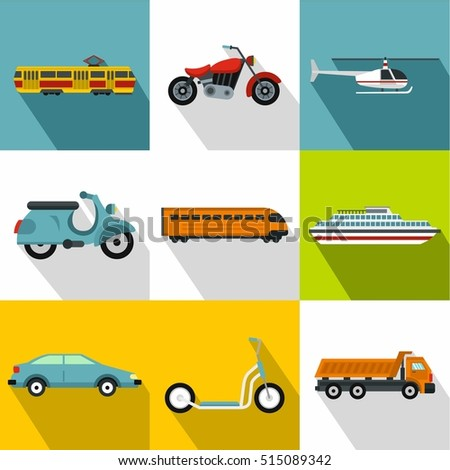 Movement icons set. Flat illustration of 9 movement vector icons for web