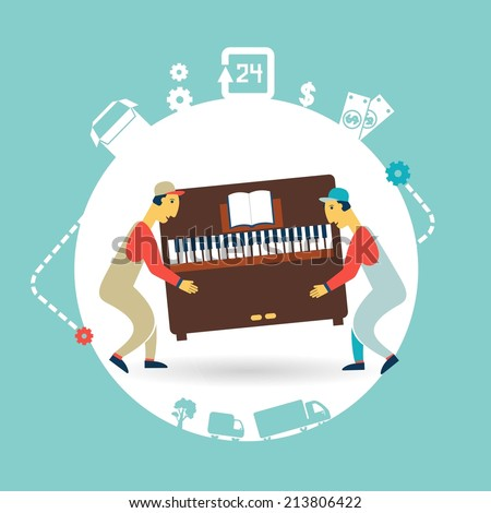 movers carry furniture piano illustration - stock vector