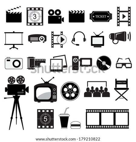 Movie and cinema icons set, isolated on white background, vector illustration. - stock vector