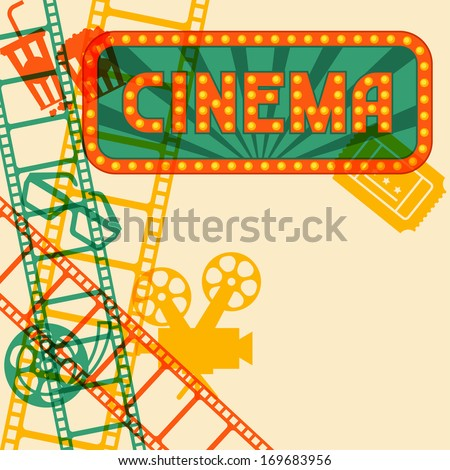 Movie and cinema retro background. - stock vector