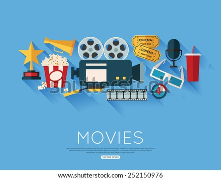 Movie and film concept. Flat style design. Vector illustration. - stock vector