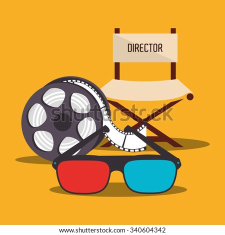 Movie and film entertainment graphic design with icon, vector illustration - stock vector