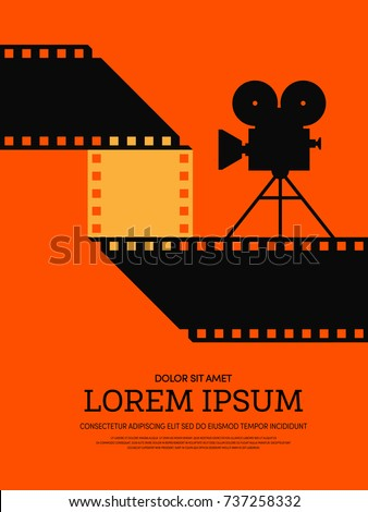 Movie and film modern retro vintage poster background. Design element template can be used of backdrop, brochure, leaflet, vector illustration