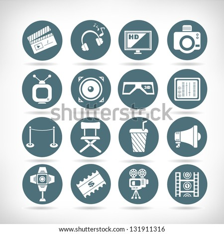 movie and media icon set, button set - stock vector